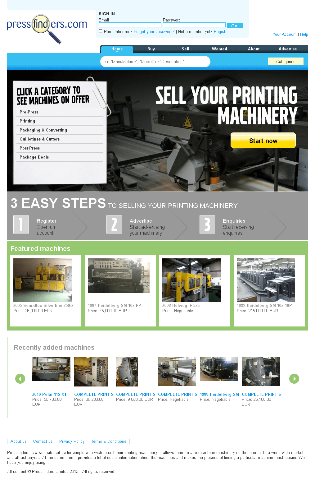 Website for 'PressFinders' Using PHP – Sell Printing Machinery