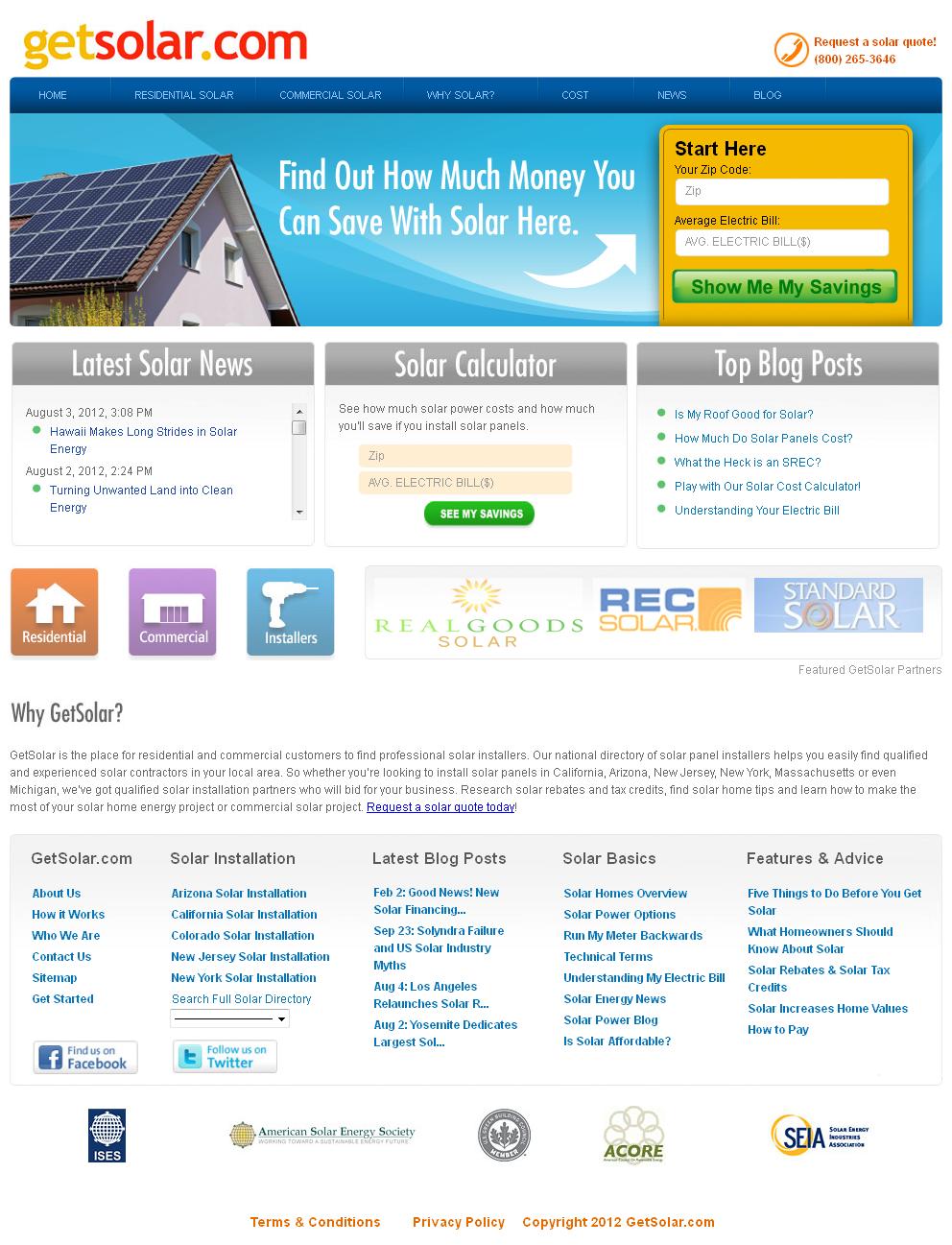 Website for Consumer 'Get Solar' Using PHP – Solar Panel Installer