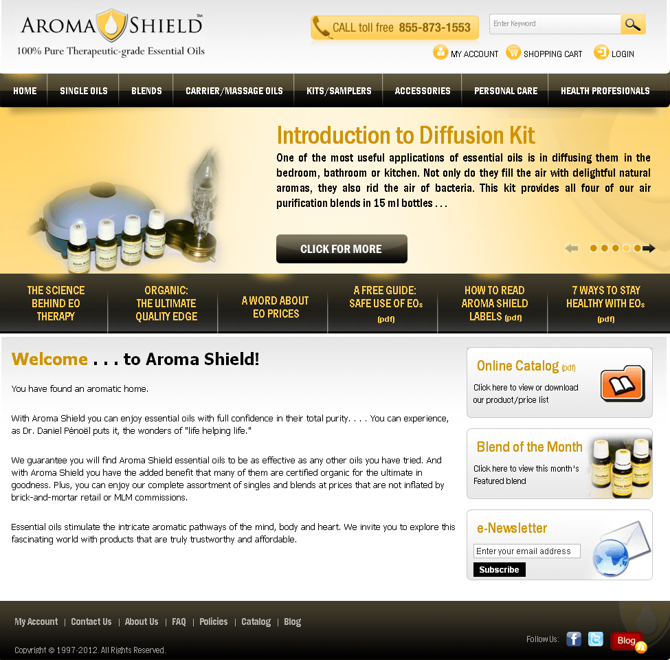 Website for 'Romashield' Using Magento – Sell Therapeutic Oils