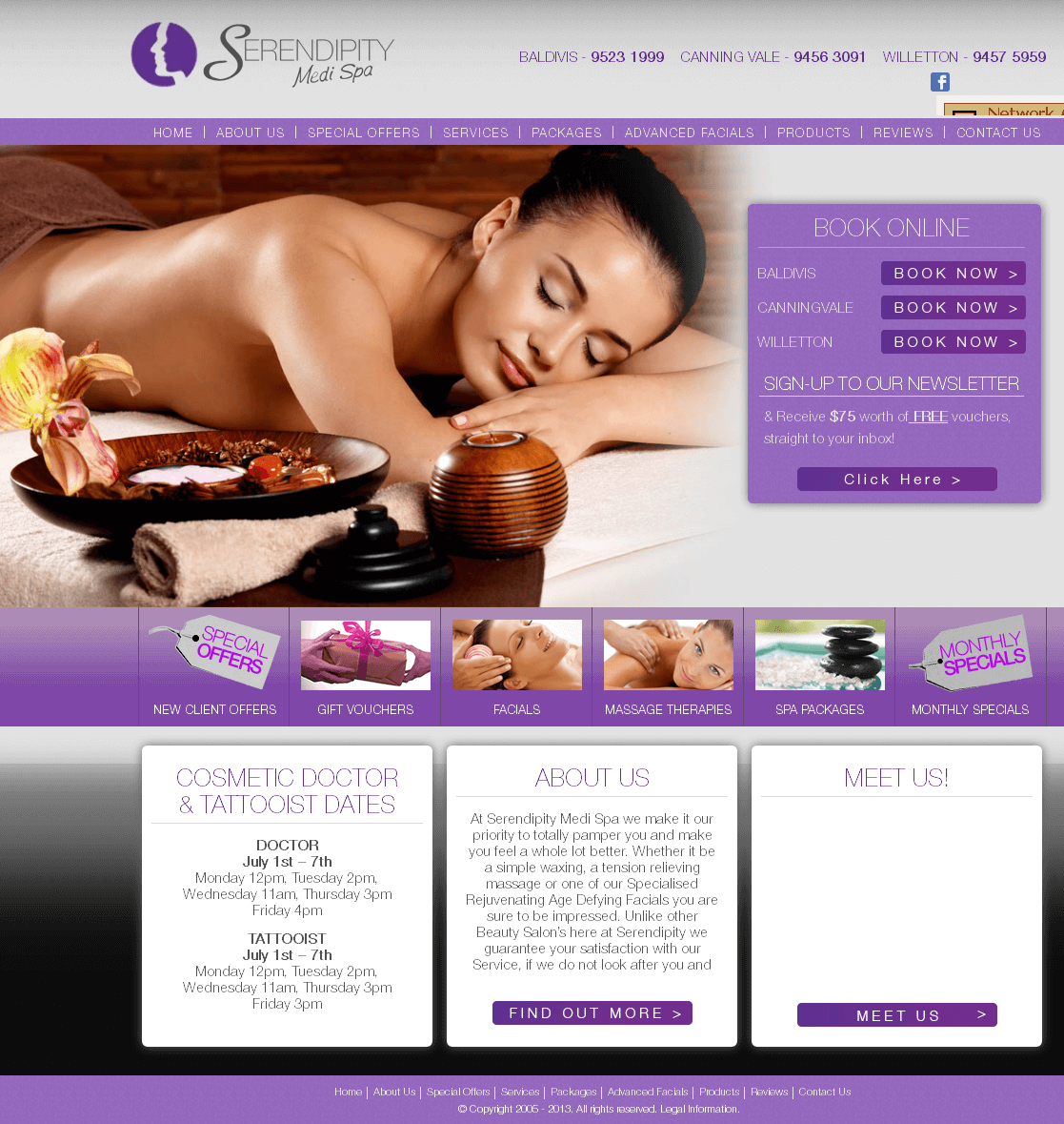 Website for Healthcare & Beauty Spa 'Serendipity' Using PHP