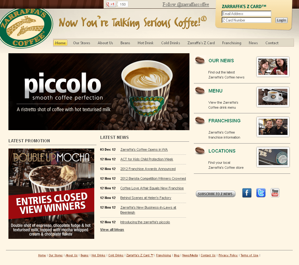 PHP Website for Consumer 'zarraffas' – Coffee Shop
