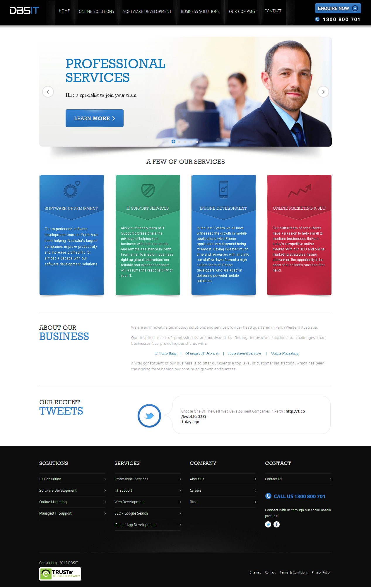 PHP Website for 'DBSIT' – Software Development Company