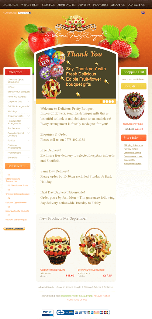 PHP Website for 'Delicious Fruity Bouquet' – Online Store