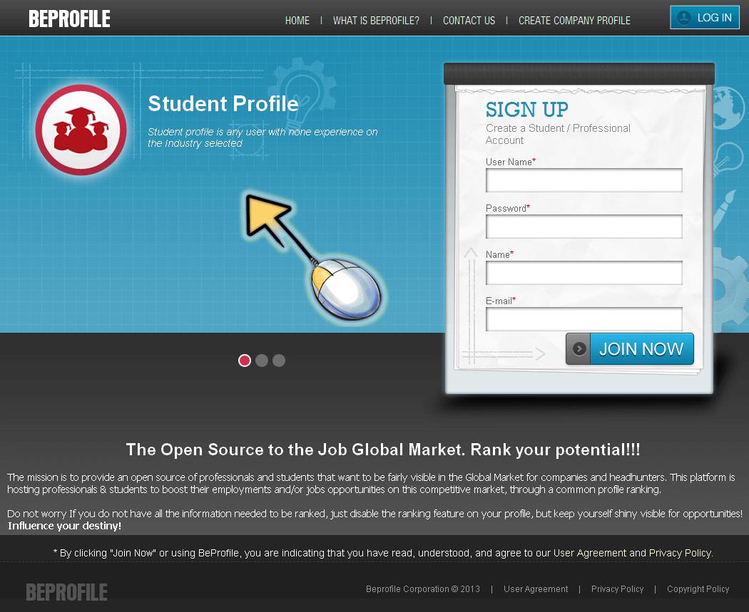 CakePHP Website for 'Beprofile' – Global Market Job Listing