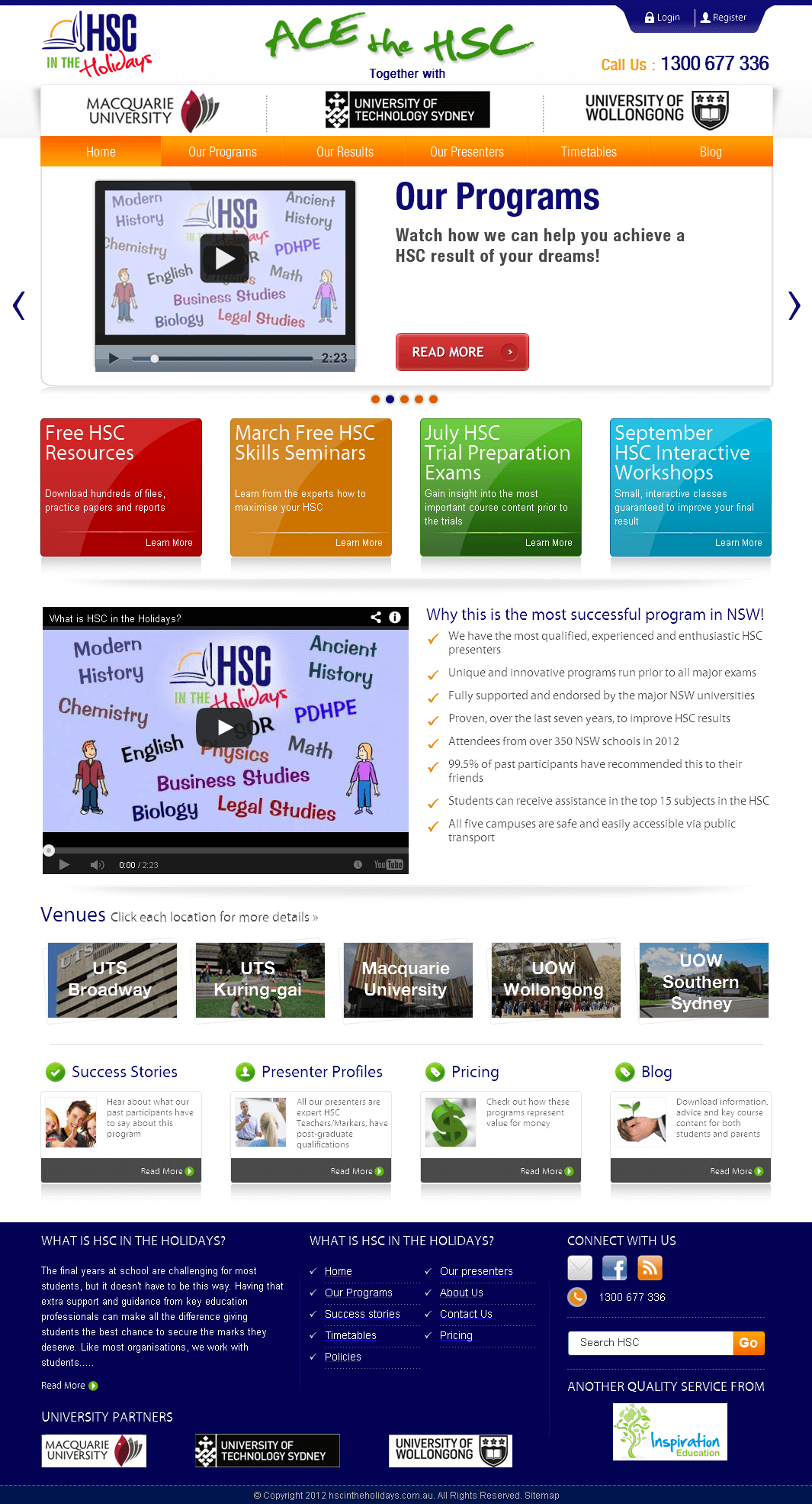 PHP Website for Online Education Services 'HSC'