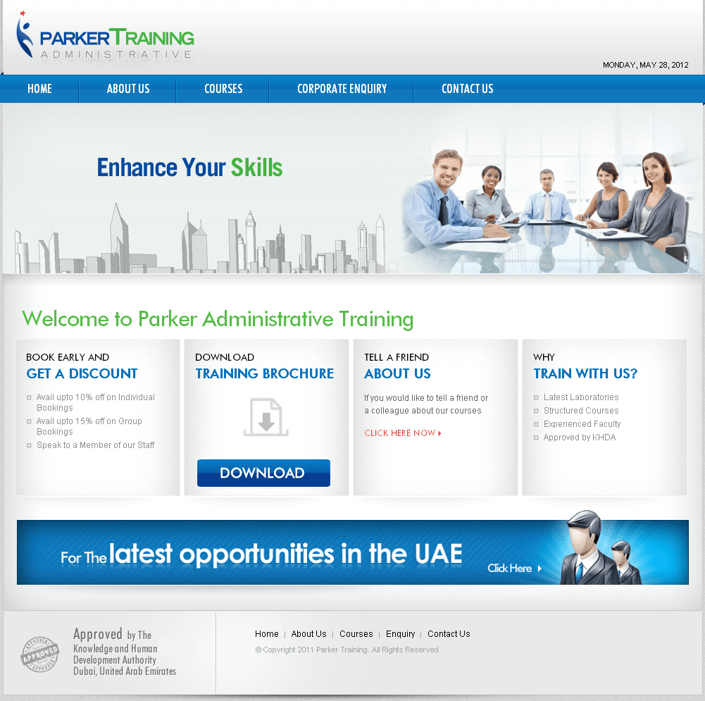 PHP Website for 'Parker Training' – Administrative Training Firm