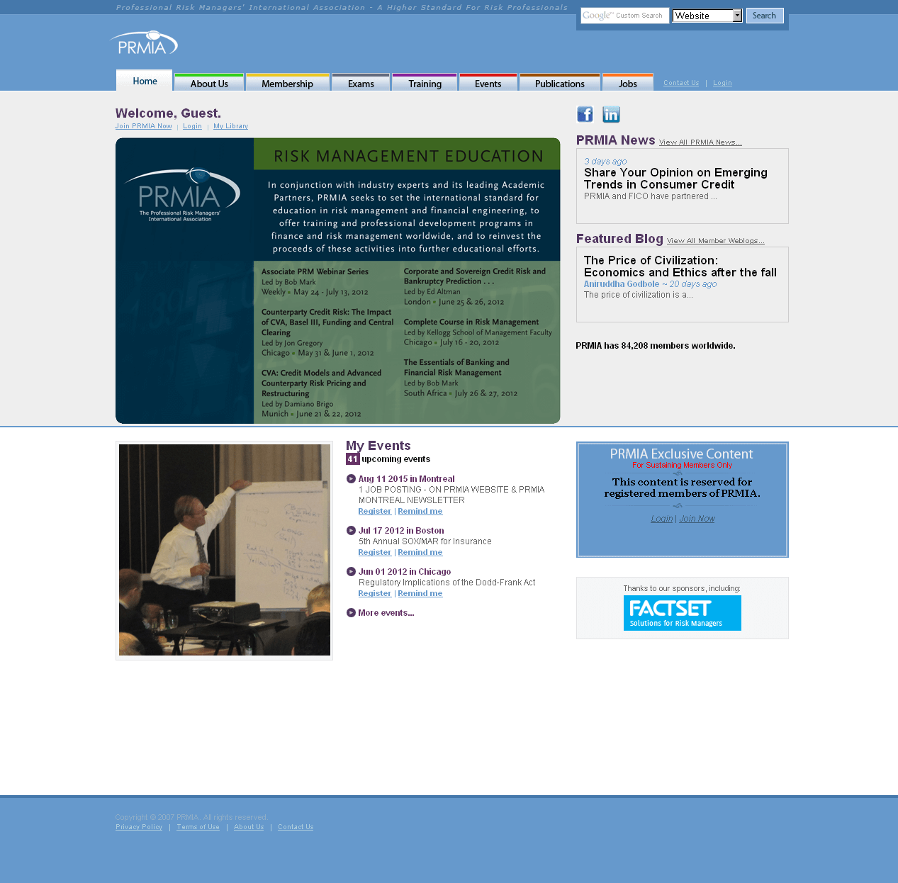 PHP Website for Education 'PRMIA' – Risk Management Education