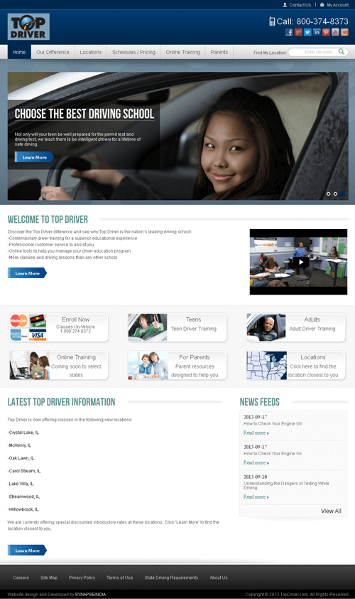 PHP Website for Education industry 'Top Driver' – Driving Course