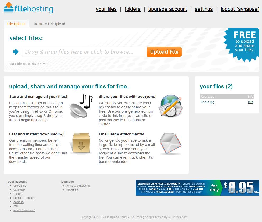 PHP Website for Online Files Hosting Service Provider 'filehosting'
