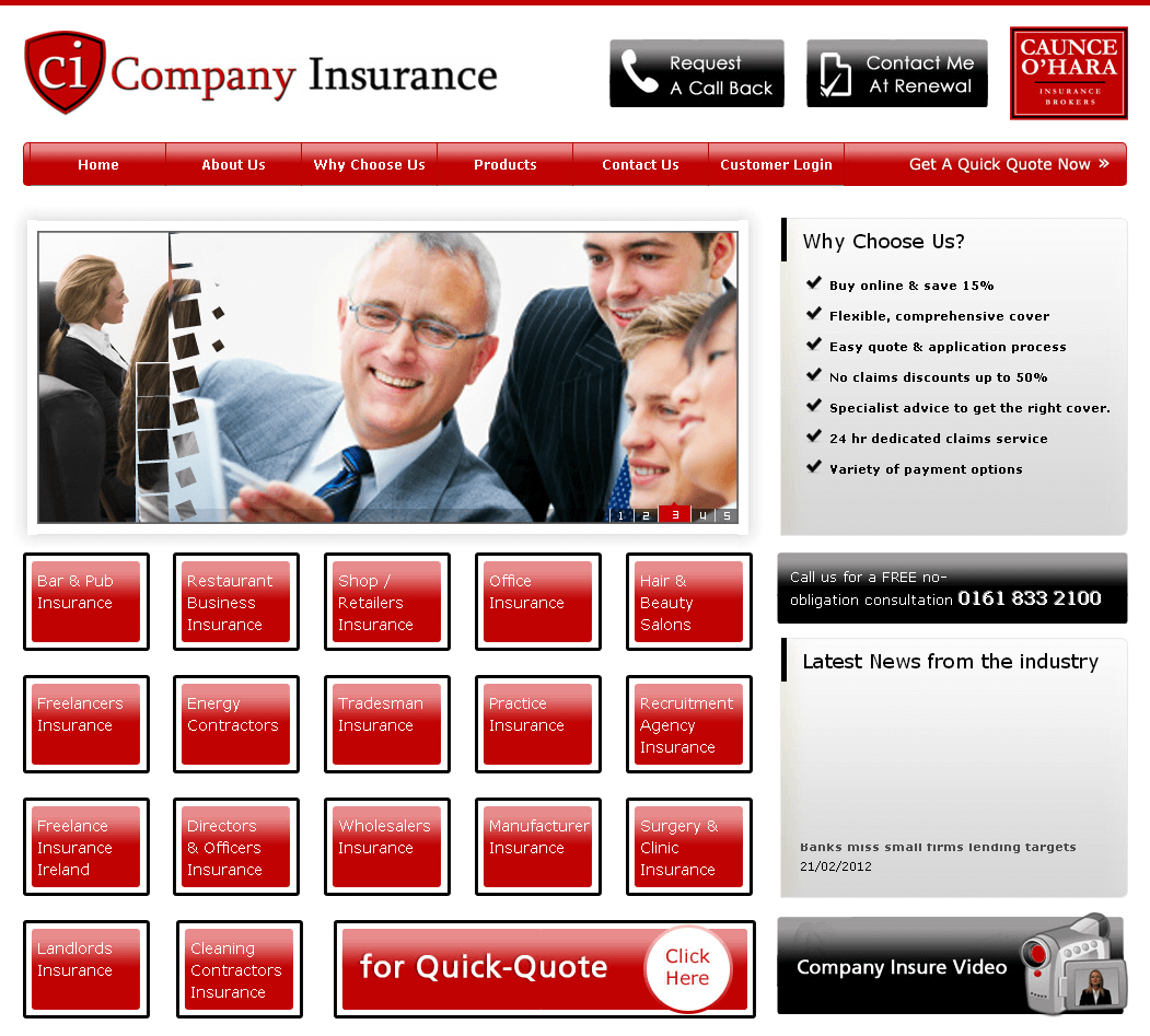 PHP Website for Small Businesses Insurance Provider 'Company Insurance'