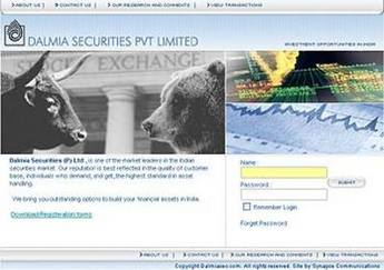 PHP Website for 'Dalmia' – Stock Market Investment Services