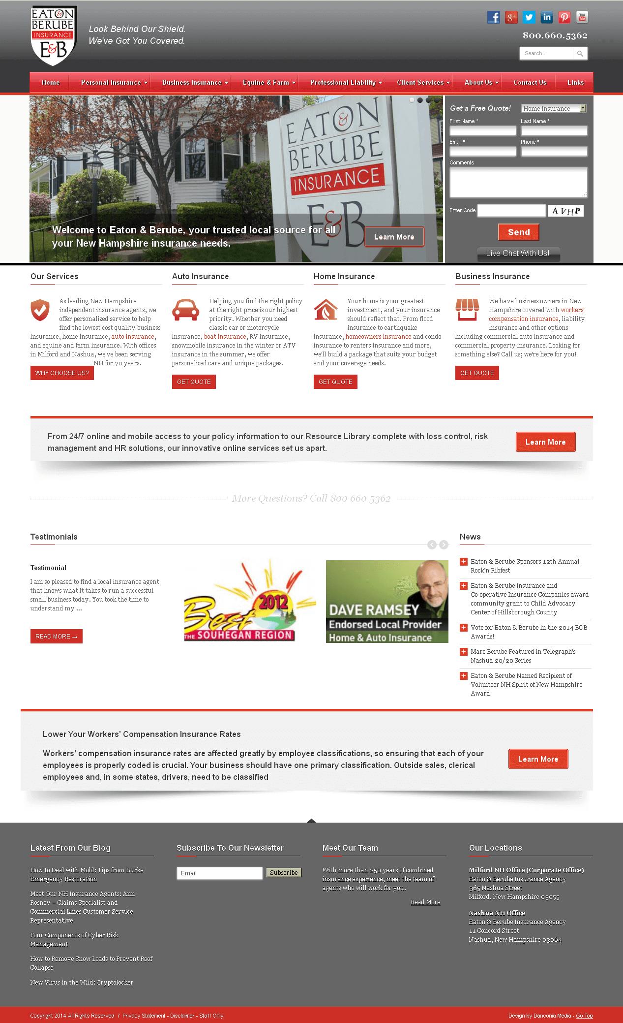 Development of WordPress Based Insurance Website - EATON & BERUBE