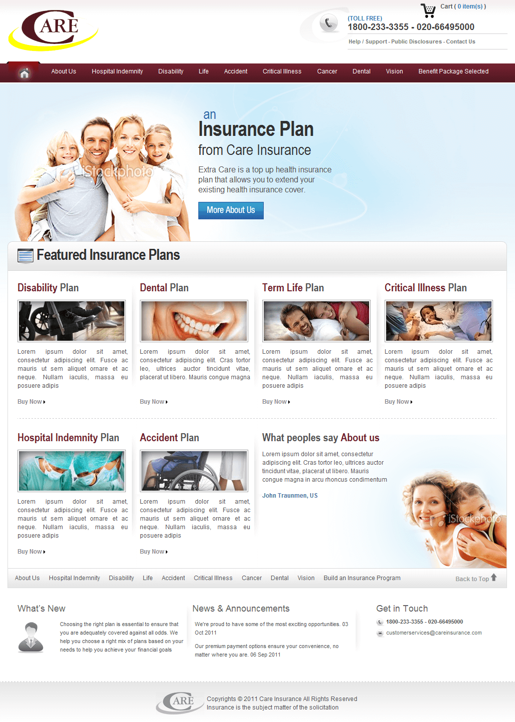 PHP Website for Health Insurance Services 'Care'