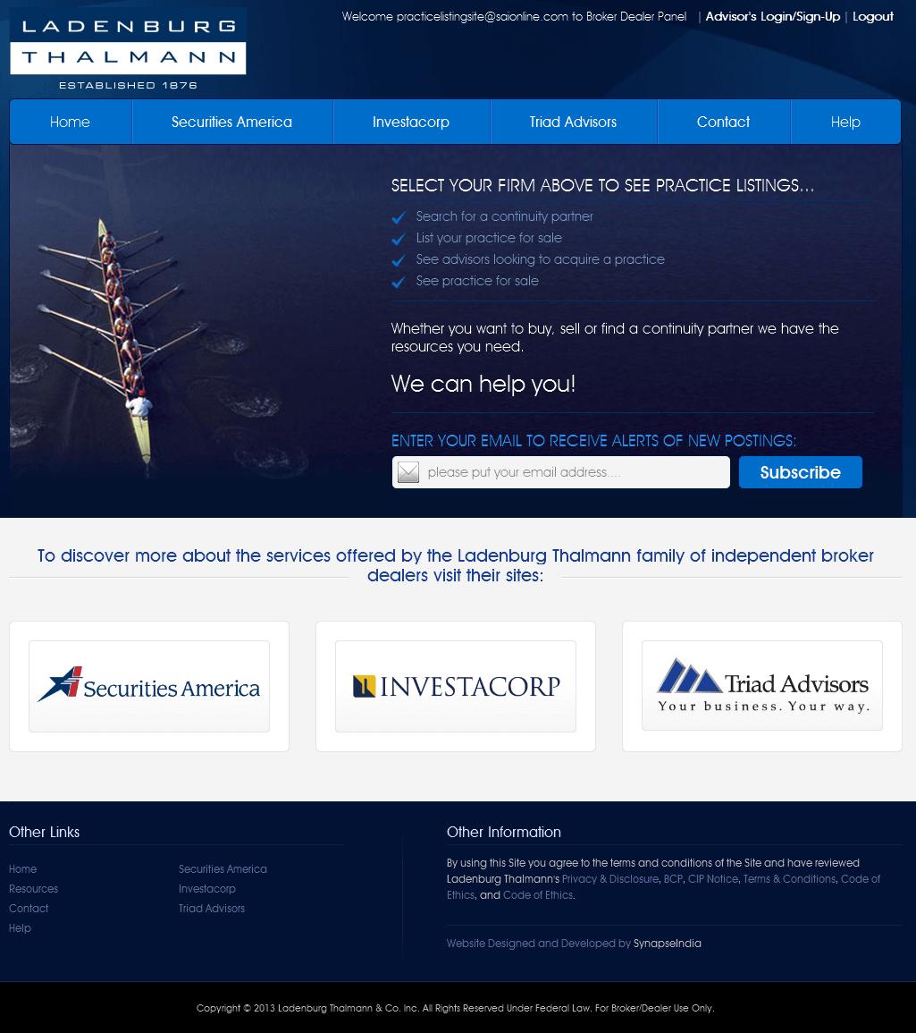 PHP Website for 'Ladenburg Thalmann' – Brokers & Dealers Platform