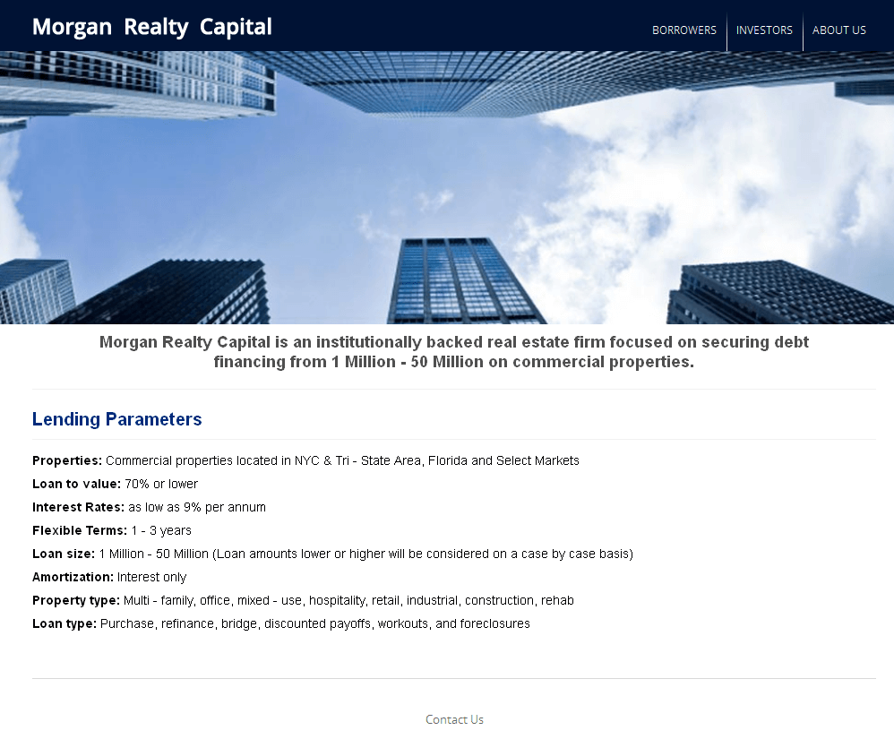 PHP Website for 'Morgan Realty Capital' – Crowdfunding Services
