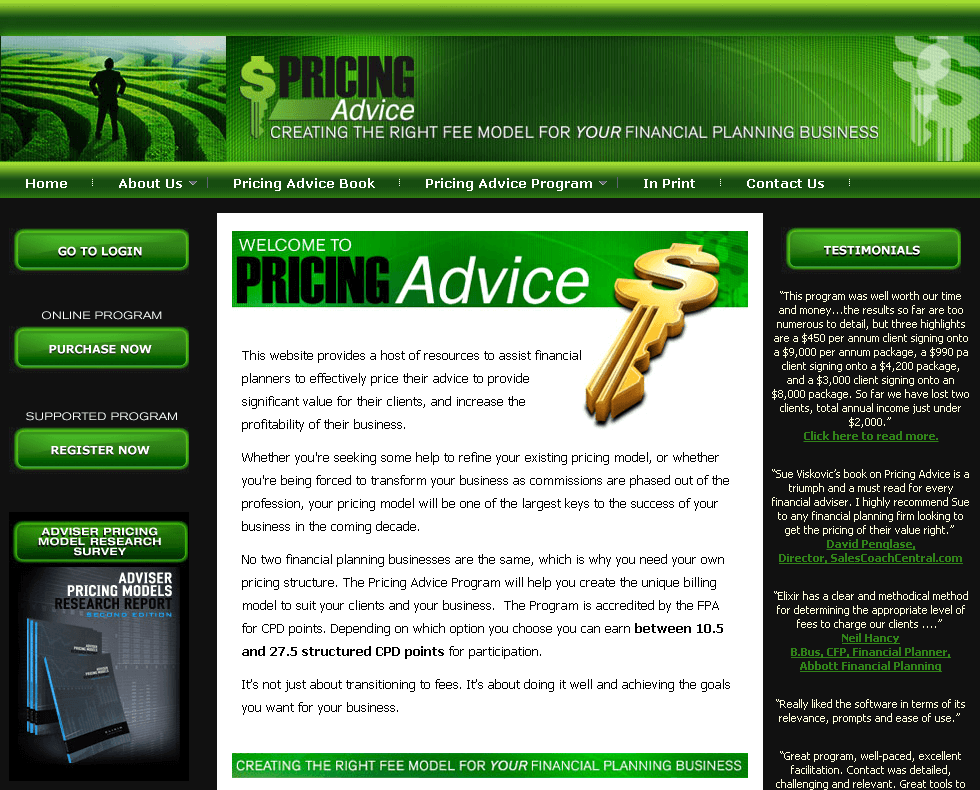 A Website for Financial Planners