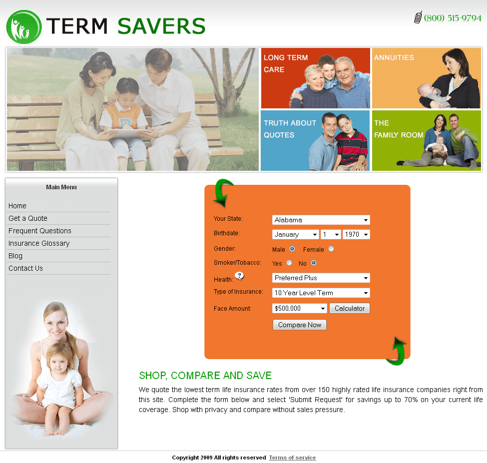 PHP Website for Insurance Service Provider 'TERM SAVERS'
