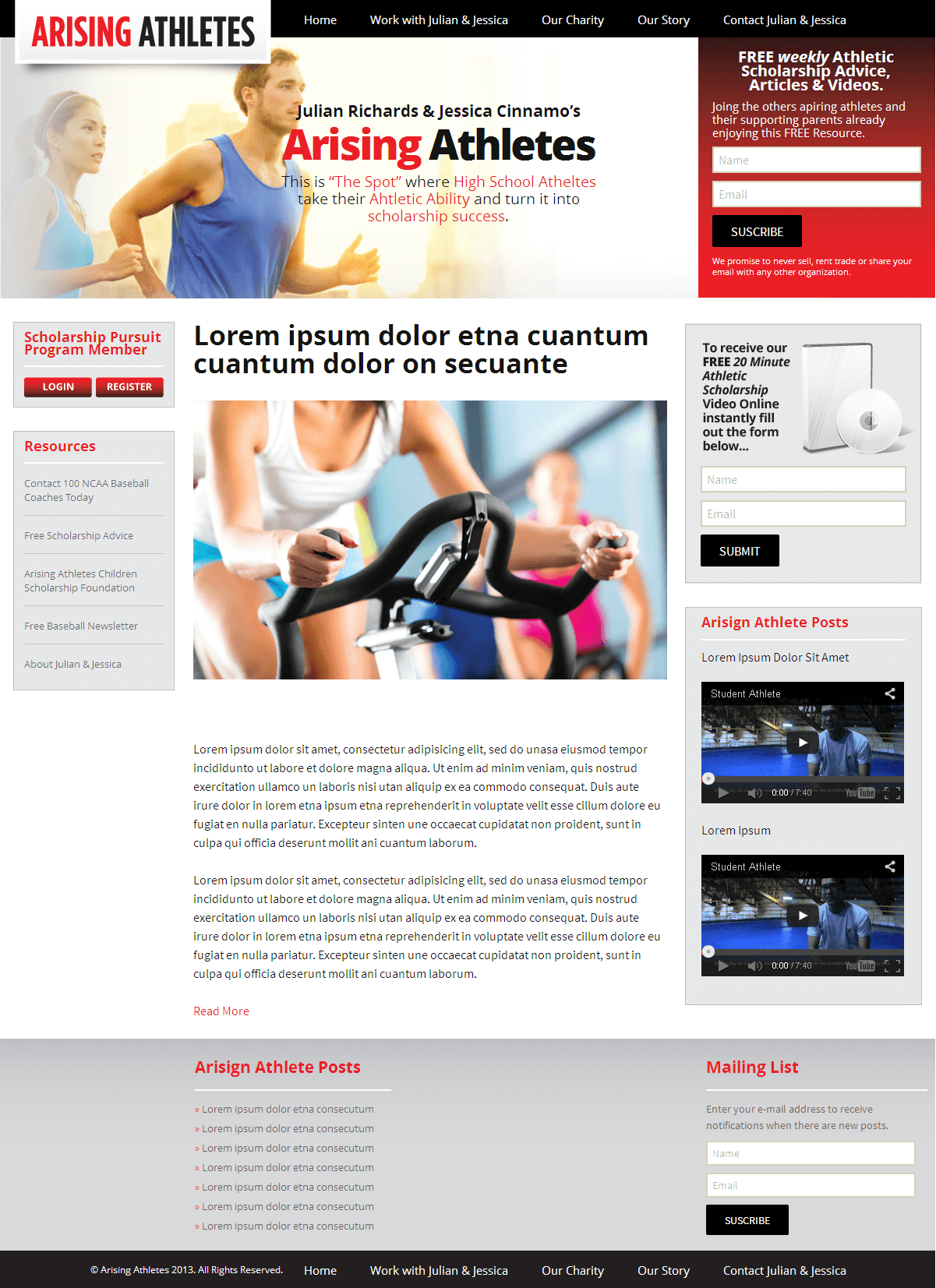 Maintenance of a WordPress Powered Fitness Website for Atheletes