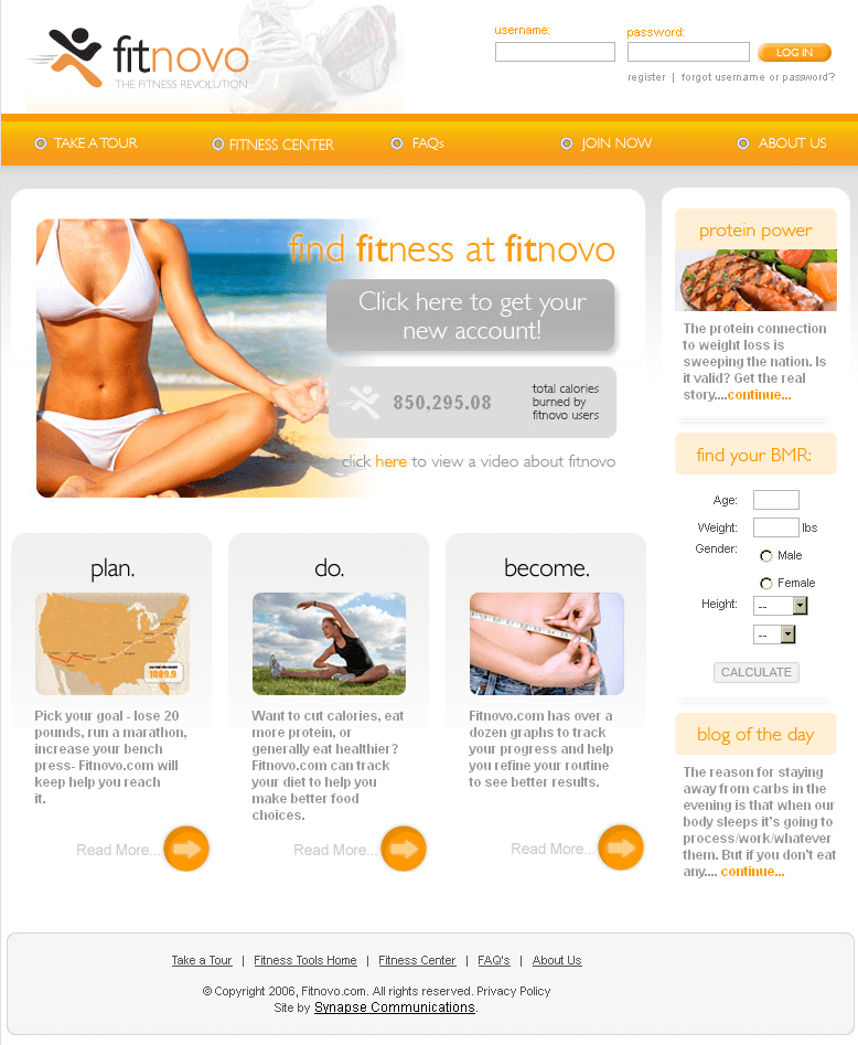 PHP Website for Healthcare 'fitnovo' – Fitness Planning & Tracking