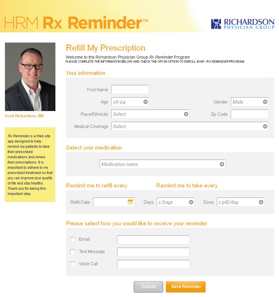 HRM Rx Reminder Mobile Website