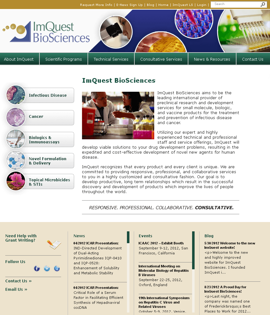 PHP Website for Preclinical Research Provider 'ImQuest BioSciences'