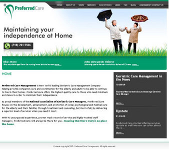 PHP Website for Senior Home Care Service Provider 'Preferred Care'