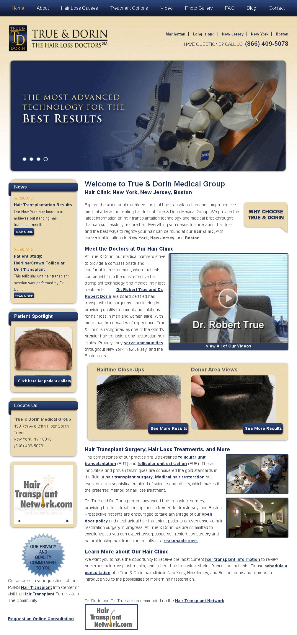 PHP Website for Healthcare 'True & Dorin' - Hair Loss Clinic