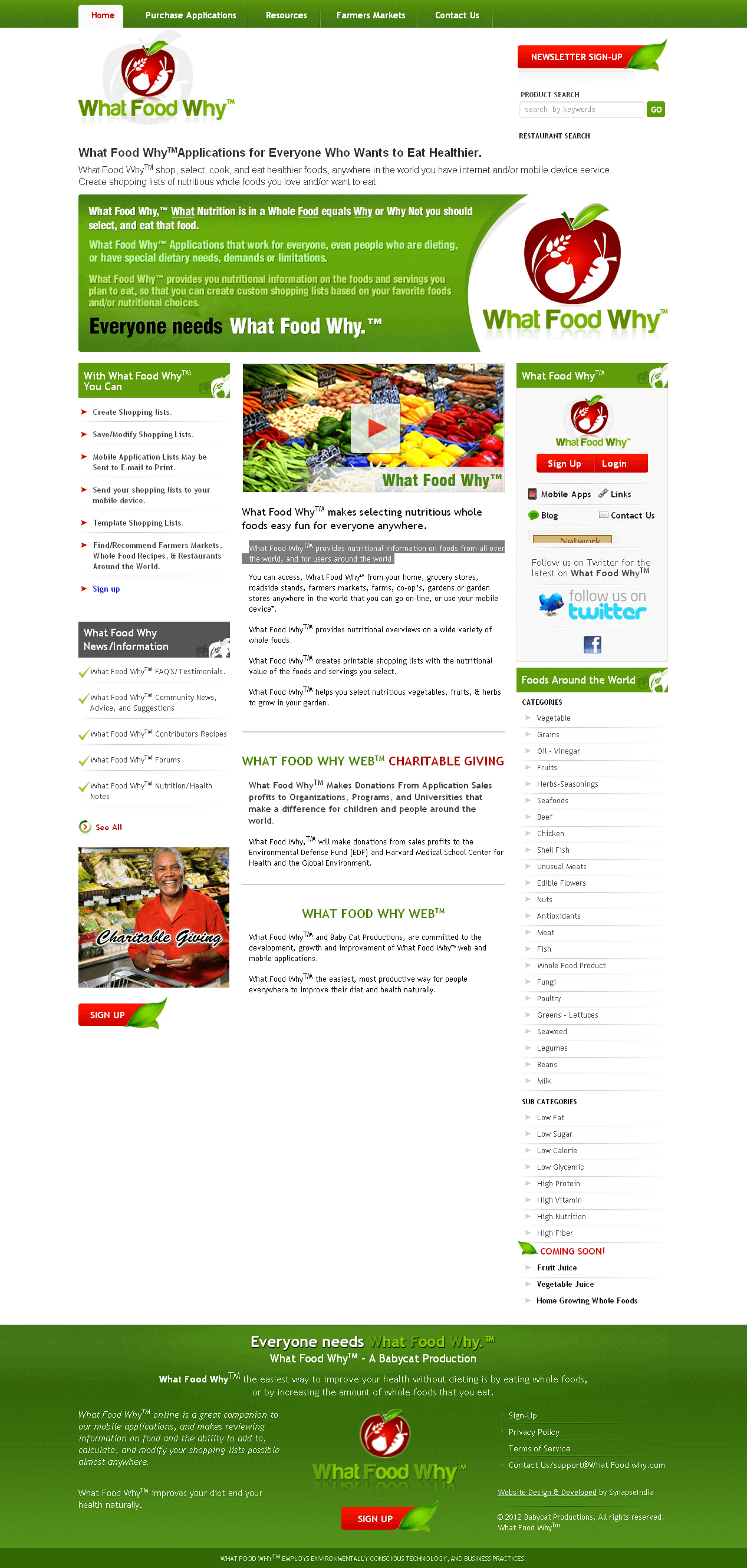 PHP Website for Healthcare Industry 'What Food Why'