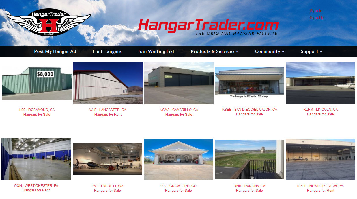 Joomla Website for Online Ad Posting Service 'HangarTrader'