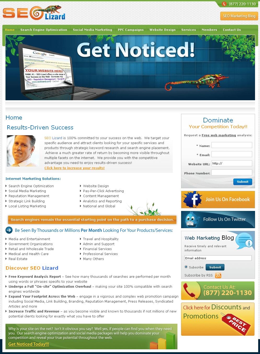 Website for Digital Marketing Agency 'SEO Lizard' Using PHP