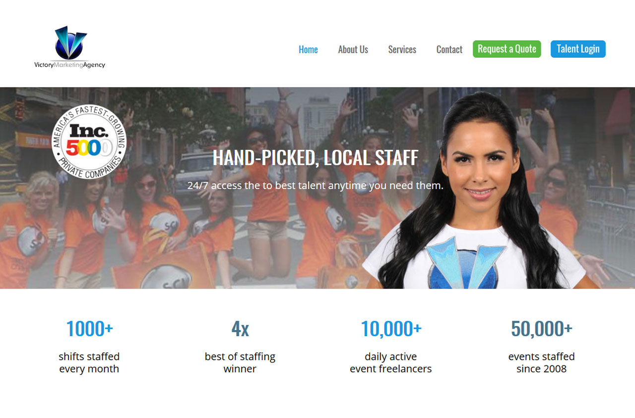 Website for 'Victory Agency' Using PHP - Event Staffing Experts