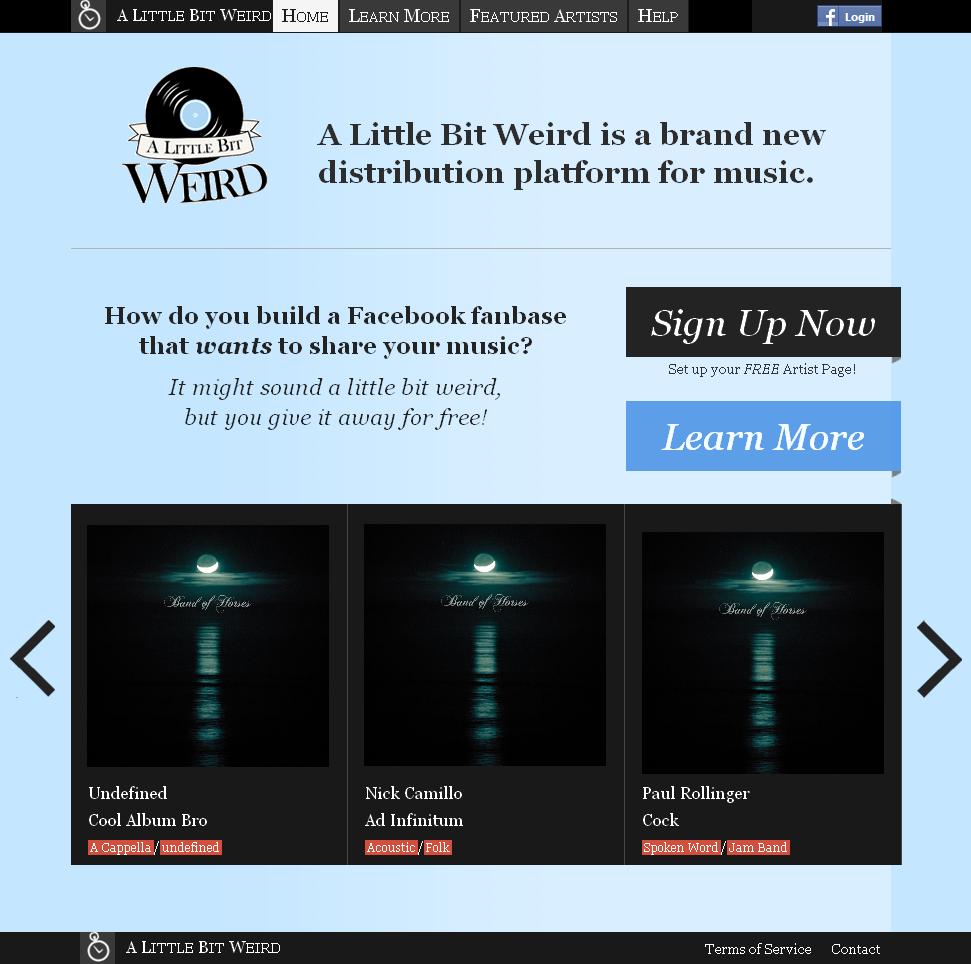 Website for Music Listing Platform 'A Little Bit Weird' Using PHP