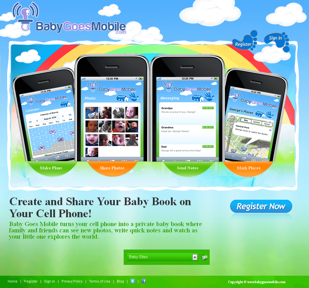 Website for Baby Book & Events Online 'BabyGoesMobile' Using PHP