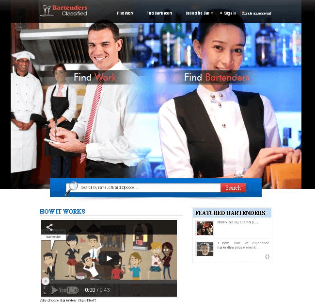 Website for 'BartendersClassified' Using PHP - Bartenders Employment Portal