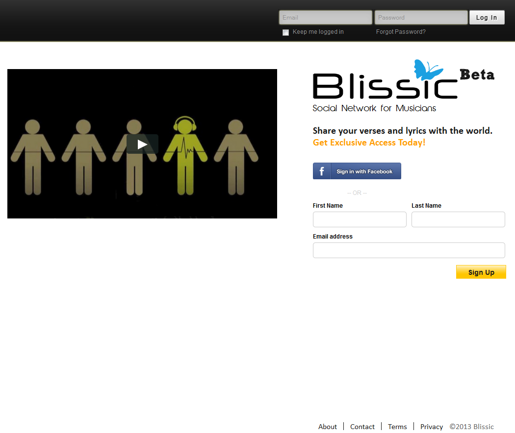 PHP Website for 'Blissic' – Music Based Social Networking