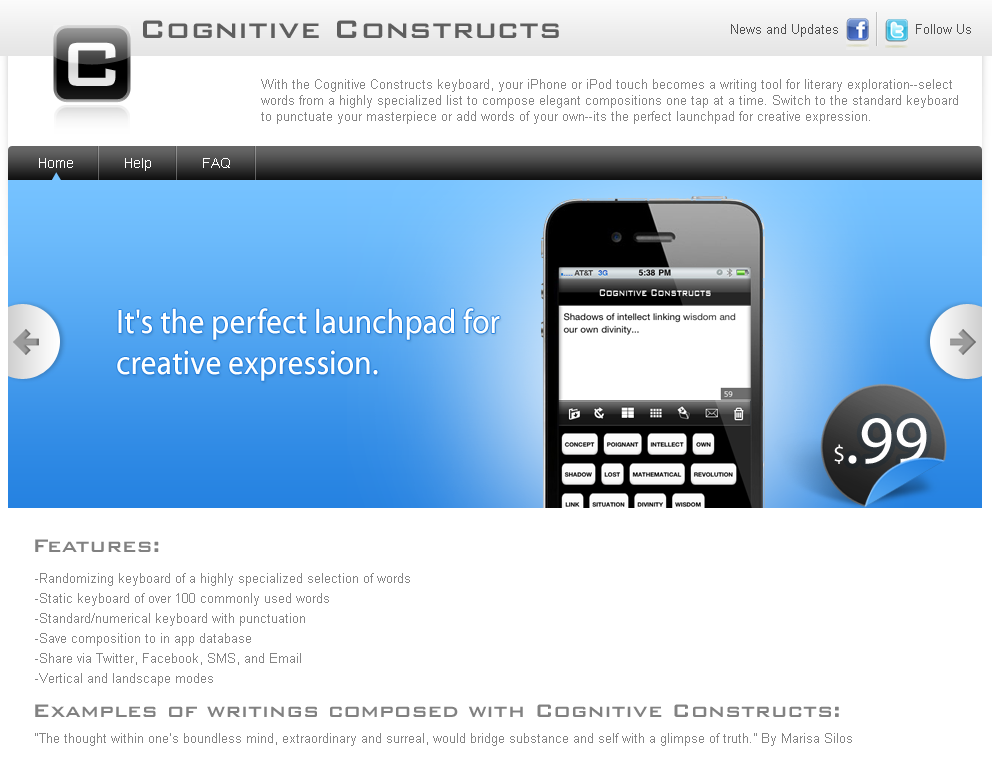 Website for iPhone/iPod Touch Keyboard App Provider 'Cognitive Constructs'