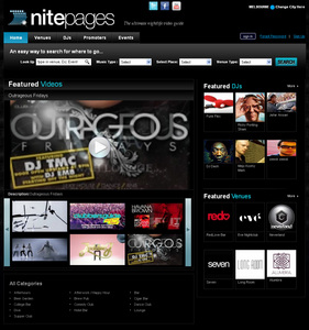 Website for Entertainment 'nitepages' Using PHP – DJ & Venues Listings