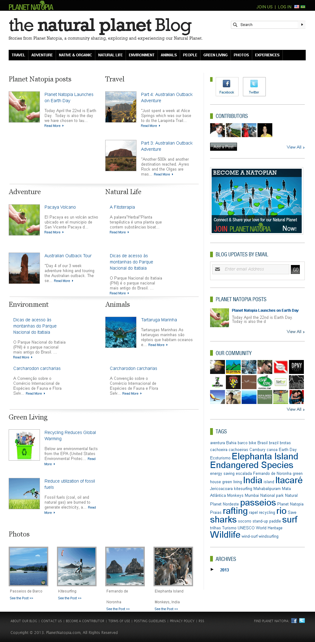 Website for Blog About Natural Planet 'Planet Natopia' Using PHP