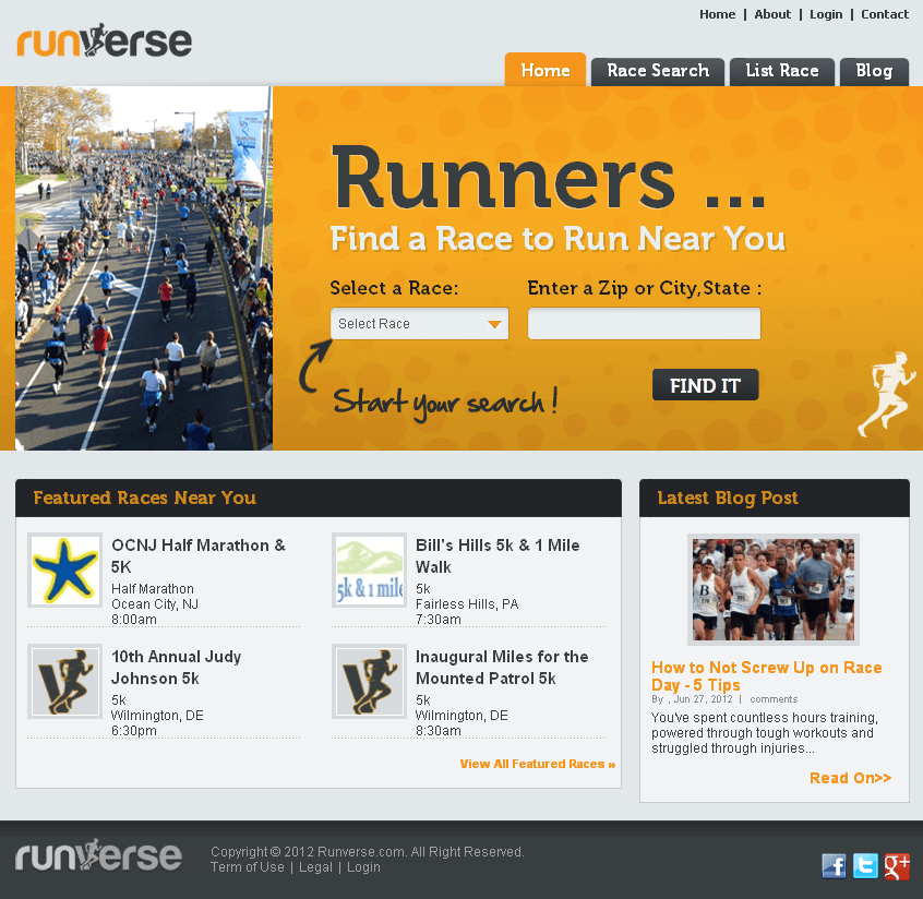 PHP Website for Media 'runverse' – News & Info about Running Events