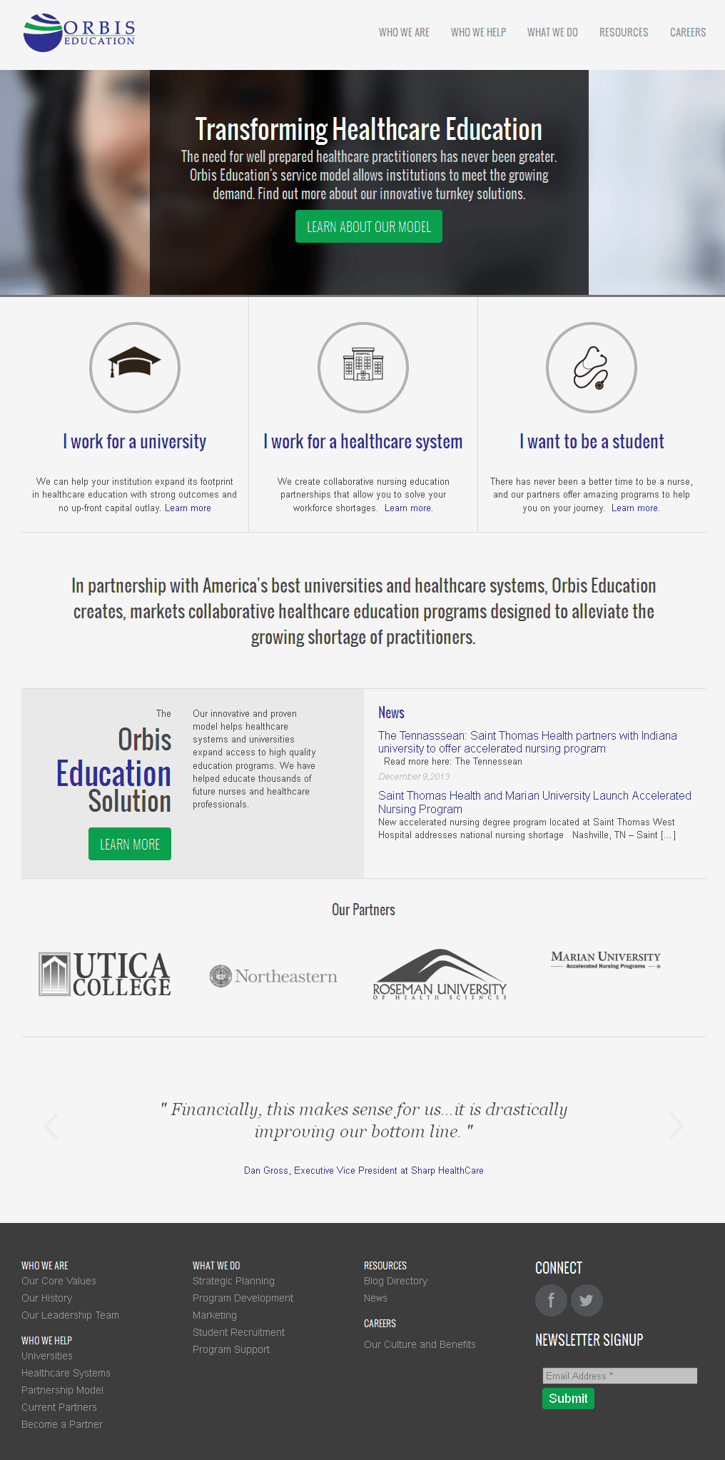 Website for Education 'ORBIS' Using PHP - Serving Colleges & Universities