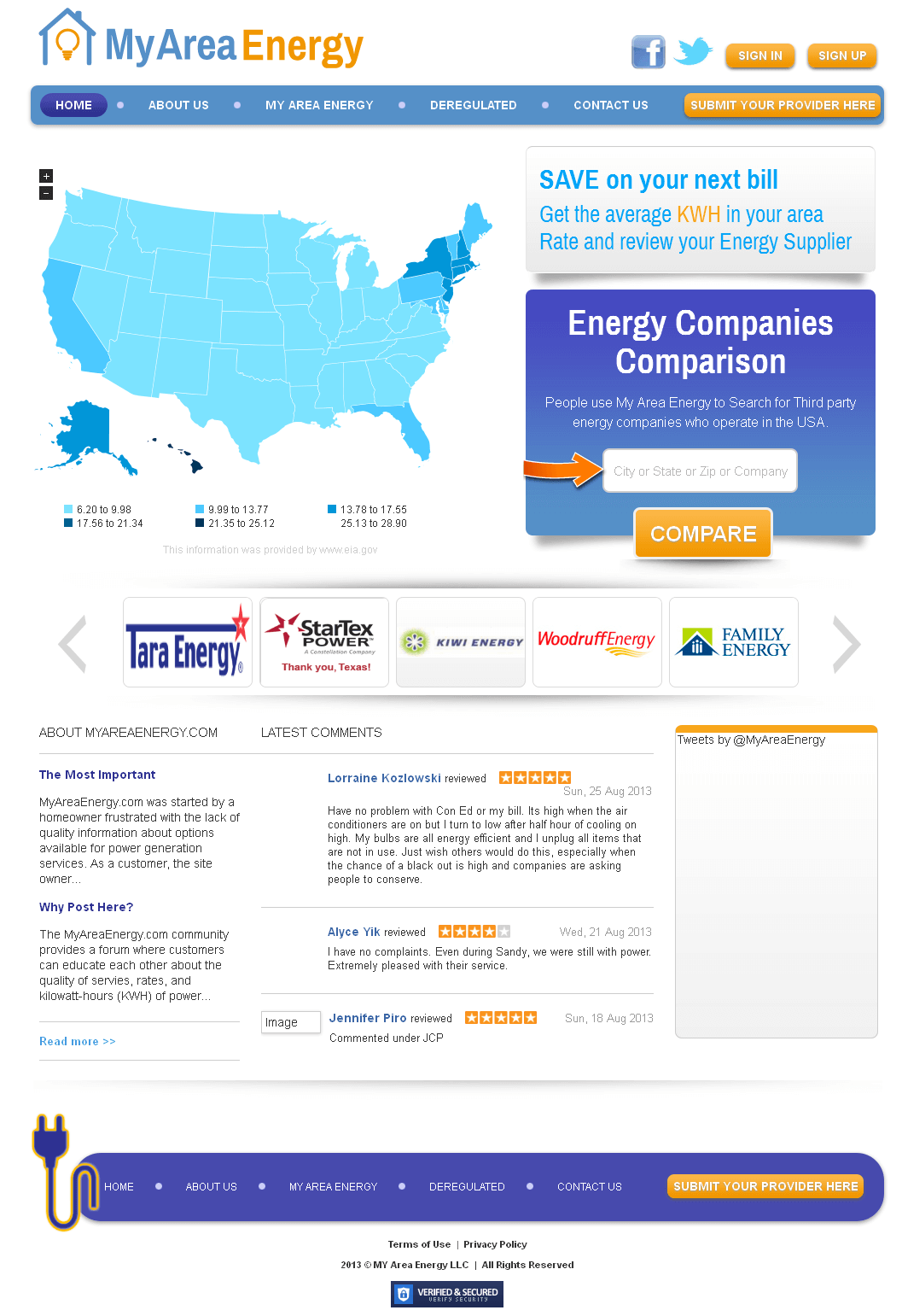 Website for Power industry 'My Area Energy' Using PHP - Energy Supplier