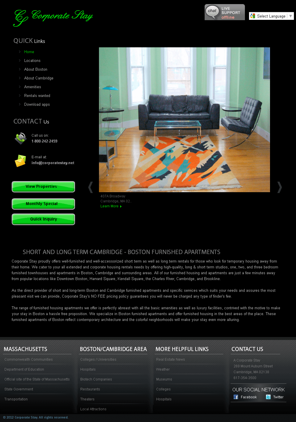 Website for Real Estate 'The Corporate Stay' Using PHP – Property for Rent