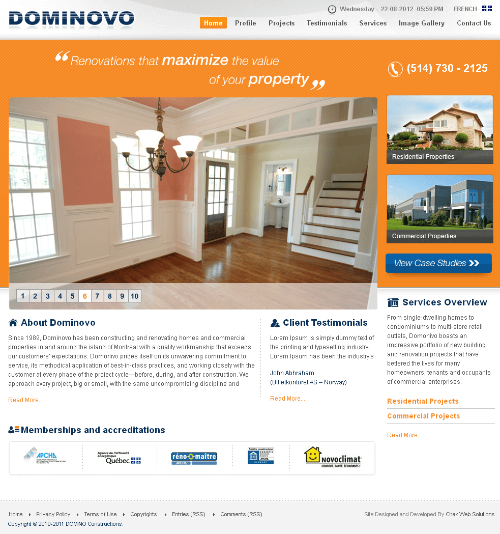 Real Estate Website in PHP for 'DOMONIVO' - Construction Business