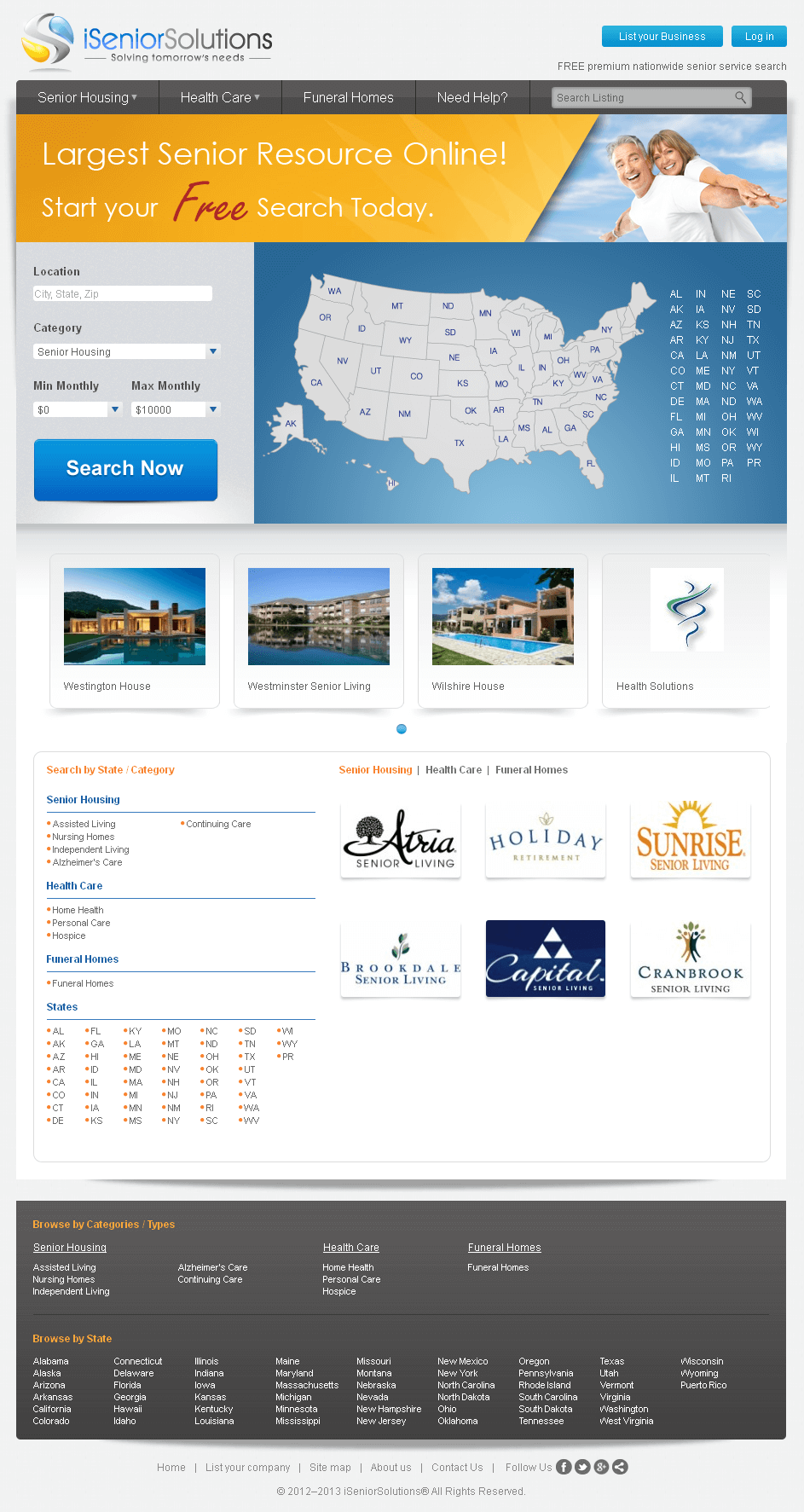 Real Estate Website in PHP for 'iSenior Solutions' - Property Listing