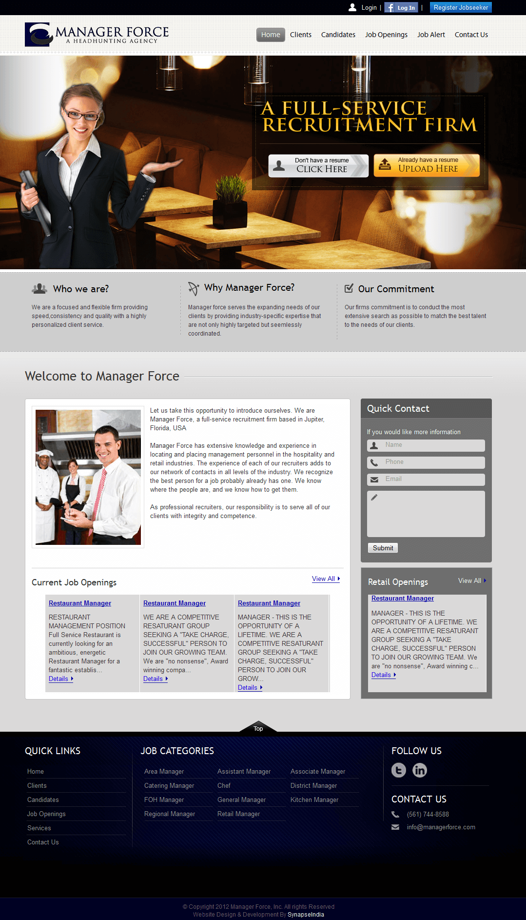 Website in PHP for 'ManagerForce' - Recruitment for Hospitality & Retail