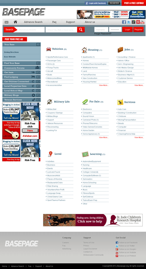 Basepage - A Classified Posting Site