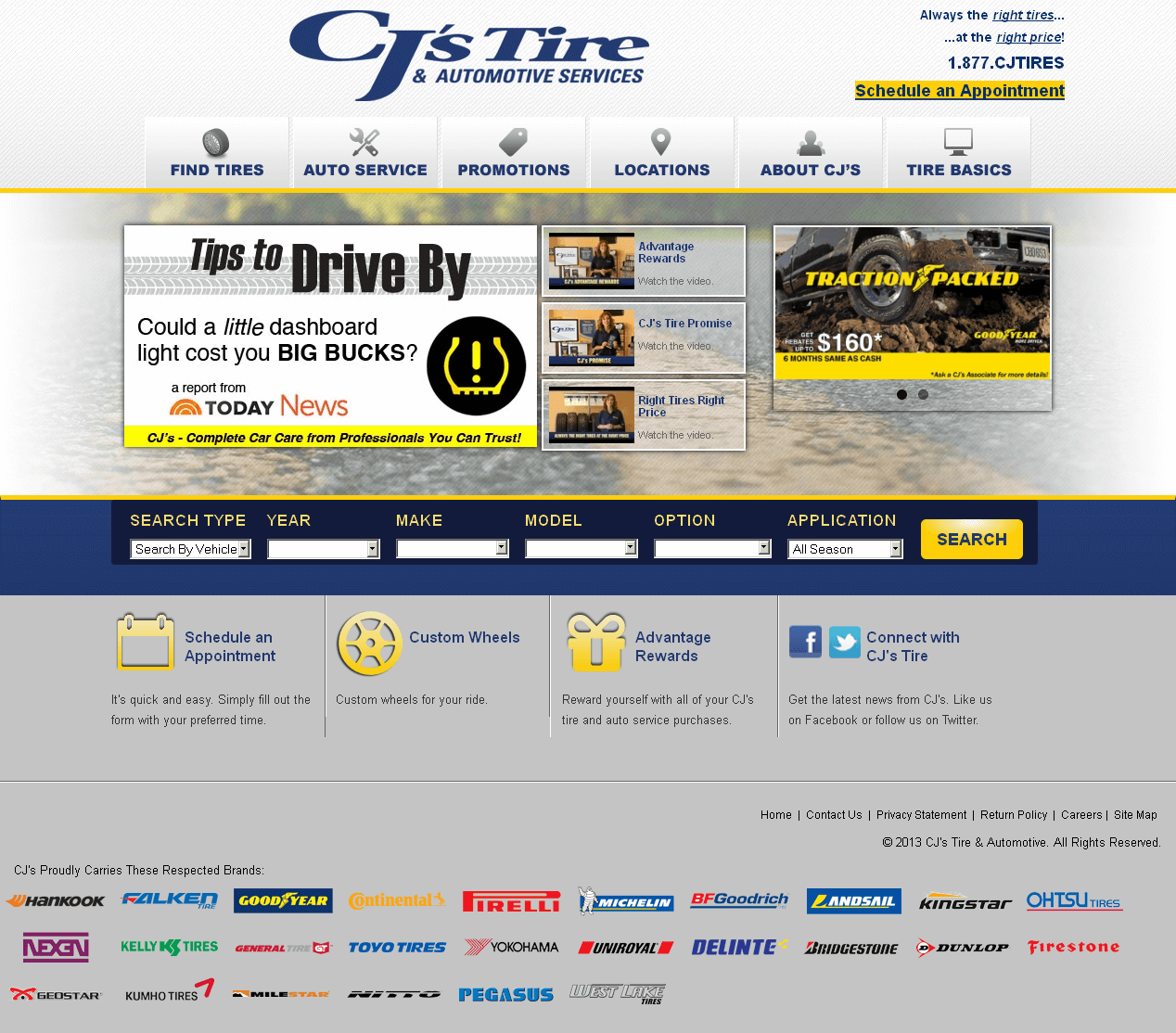 Retail Website in PHP for 'CJ's Tire & Automotive' - Tire & Wheel Dealer