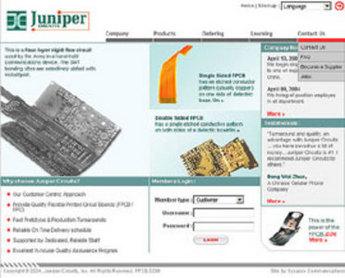 PHP Website for FPCB Manufacturer & Online Seller 'Juniper Circuits'