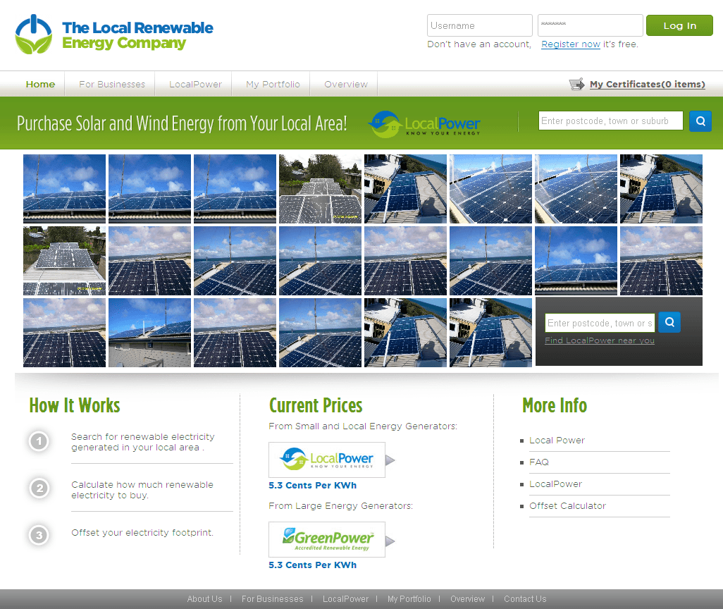 PHP Website for Retail 'Local Renewable Energy Company' - Solar Business