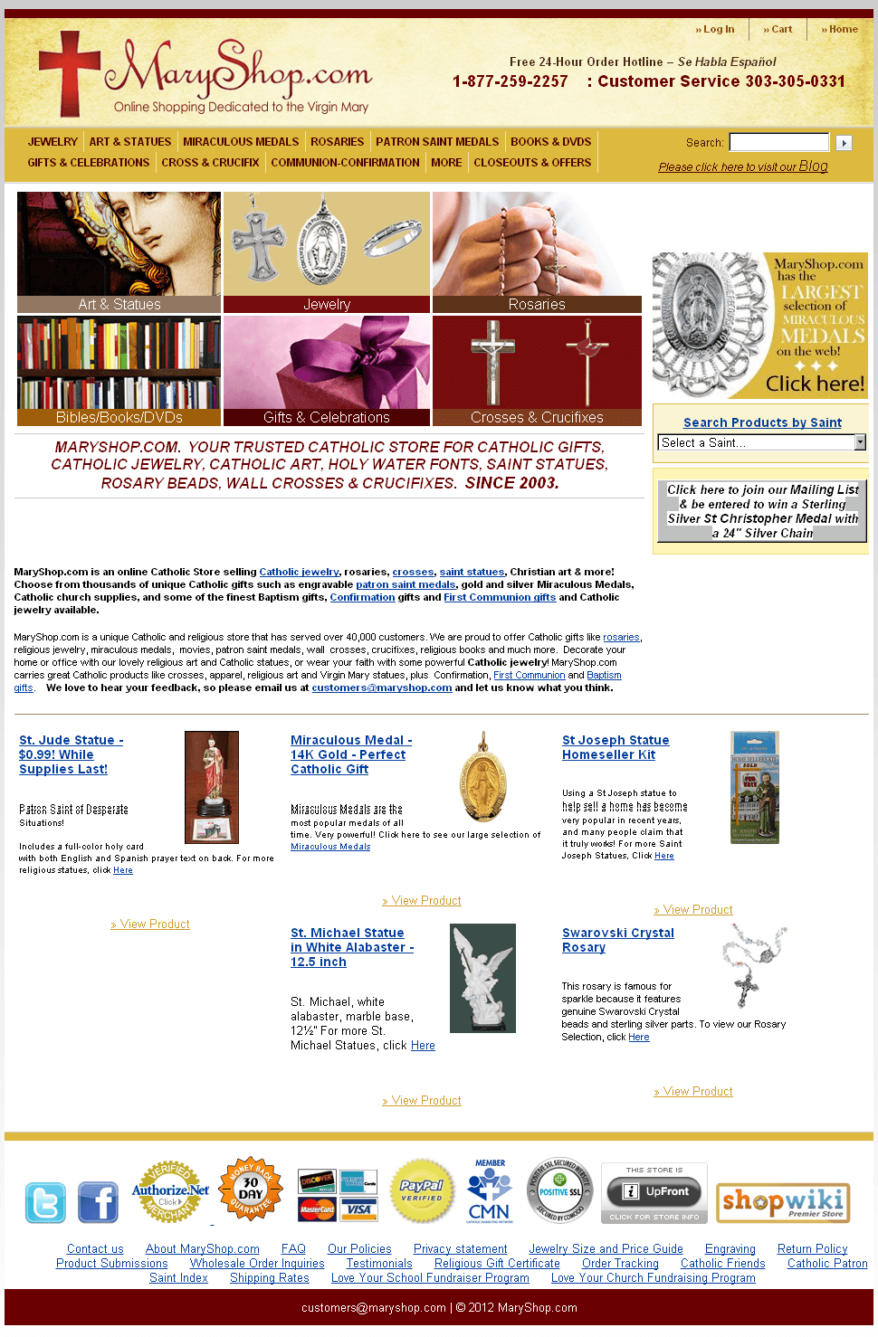 PHP eCommerce Website for Retail 'MaryShop' - Online Catholic Gift Store